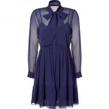DKNY Cadet Blue Sheer Demure Kleid with Cami Kleid