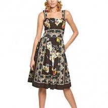 Dolce & Gabbana Baumwollpopelinekleid Mit Siziliendruck