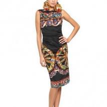 Dolce & Gabbana Bedrucktes Stretch Baumwoll Popeline Kleid