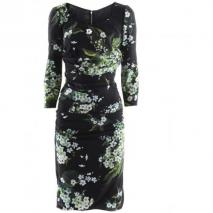 Dolce & Gabbana Black Flower Ruffle Dress
