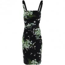 Dolce & Gabbana Black Flower Strap Dress