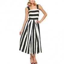 Dolce & Gabbana Gestreiftes Kleid Aus Baumwolle Und Brokatseide Schwarz gestreift