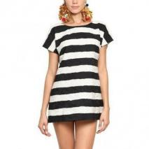Dolce & Gabbana Gestreiftes Kleid Aus Baumwolle Und Brokatseide Schwarz Weiß Gestreift
