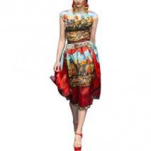 Dolce & Gabbana Kleid Aus Seidenorganza Mit Marionettendruck