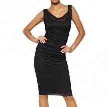 Dolce & Gabbana Seiden Viskosen Stretch Kleid Mit Spitze