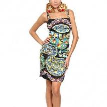 Dolce & Gabbana Stretch Charmeuse Kleid Mit Tellerdruck