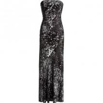 Donna Karan Black and Silver Strapless Sequin Gown