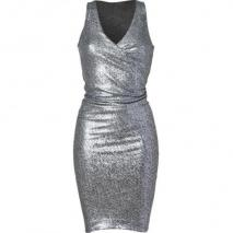 Donna Karan Silver Metallic Draped All Over Sequin Kleid