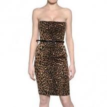 Dsquared Leopard Druck Baumwoll Gabardine Kleid