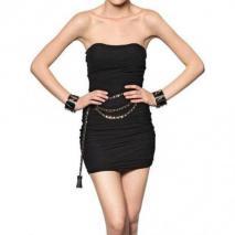 Dsquared Sich Sammelndes Tüll Auf Lycra Jersey Kleid Nero