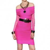 Dsquared Sich Sammelndes Tüll Auf Lycra Jersey Kleid Pink