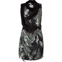 Edun Black Marble Print Silk Dress