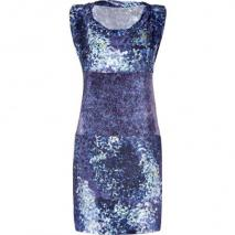 Edun Indigo Glass Streak Mixed Print Wrap Tie Dress