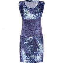 Edun Indigo Glass Streak Mixed Print Wrap Tie Dress
