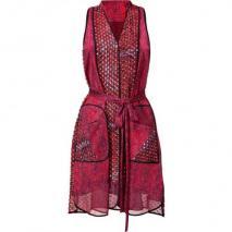 Edun Magenta Weave Print Belted Shirt Dress