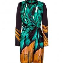 Emanuel Ungaro Black/Green Draped Silk Kleid