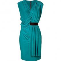 Emanuel Ungaro Lake Blue Draped Jersey Kleid