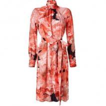 Emanuel Ungaro Spice Orange Floral Silk Kleid with Belt