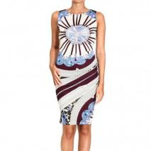 Emilio Pucci 3/4 sleeve v neck jersey arcade print dress