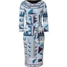 Emilio Pucci Azure Belted Geometric Print Dress