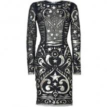 Emilio Pucci Black and Gold Silk-Blend Dress