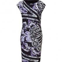 Emilio Pucci Black and Lilac Draped Jersey Dress