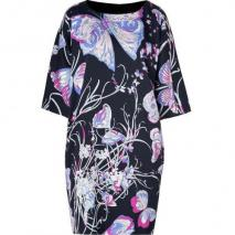 Emilio Pucci Black and Lotus Printed Silk Dress