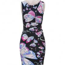 Emilio Pucci Black Draped Stretch Silk Butterfly Print Dress