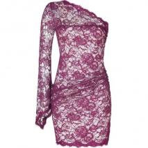 Emilio Pucci Lotus One Shoulder Lace Dress