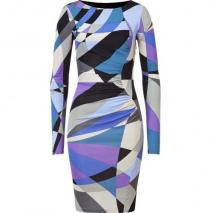 Emilio Pucci Multicolor Geometric Print Draped Dress