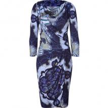 Emilio Pucci Navy/Azure Graphic Print Draped Cowl Neck Dress