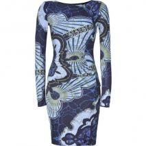 Emilio Pucci Navy/Azure Graphic Print Draped Jersey Dress