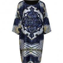 Emilio Pucci Navy/Azure Graphic Print Silk Dress