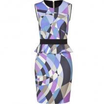 Emilio Pucci Ocean Geometric Print Peplum Dress