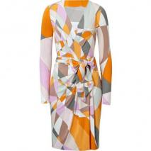Emilio Pucci Pumpkin Multi-Cube Belted Dress