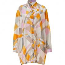 Emilio Pucci Pumpkin Multi-Cube Sheer Shirt Dress