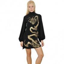 Emilio Pucci Seiden-Cady-Kleid Mit Handgemaltem Drachen