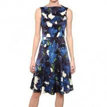 Erdem Bedrucktes Seiden Satin Kleid Blau