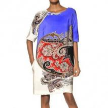 Etro Bedrucktes Kleid Aus Seidenjersey Blau