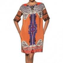 Etro Bedrucktes Kleid Aus Seidenjersey Orange Bunt