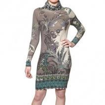 Etro Bedrucktes Seiden Kaschmir Strick Kleid