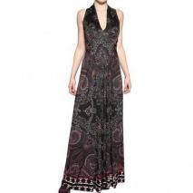 Etro Bedrucktes Viskose Jersey Kleid Schwarz