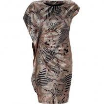 Etro Black/Blush Draped Wool and Silk Blend Kleid