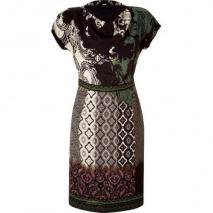 Etro Black/Green Cowl Neck Kleid