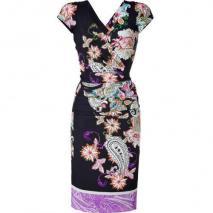 Etro Black-Multi Pleated Silk Stretch Kleid