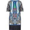 Etro Caviar/Blue-Multi Printed Silk Shift Kleid
