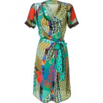 Etro Emerald Multicolor Belted Kleid