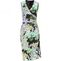 Etro Green-Multi Jersey Ruched Seam Kleid