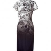 Etro Ivory/Black Paisley Print Silk Kleid