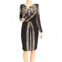 Etro Long sleeve ring neck jersey print dress